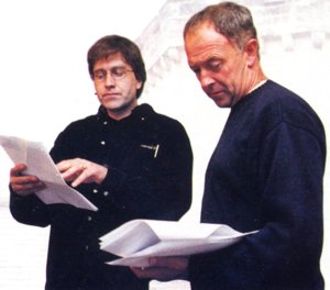 Producer John Dryden discusses the script with Michael Kitchen, who plays John Jarndyce. Dryden spent a year compressing Dickens' complex novel into just five hours of radio drama.