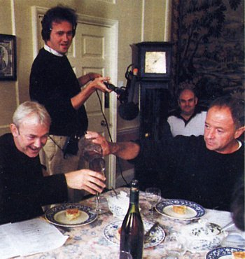 In the pursuit of realism, the team record such everyday acts as the pouring of wine as they happen in the script. Here, Michael Kitchen (playing Jarndyce) fills the glass of Michael Fenton Stevens (Skimpole), with production manager Nick Russel-Pavier on hand with the boom.