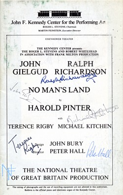 John F. Kennedy Centre autographed programme page, 1976.