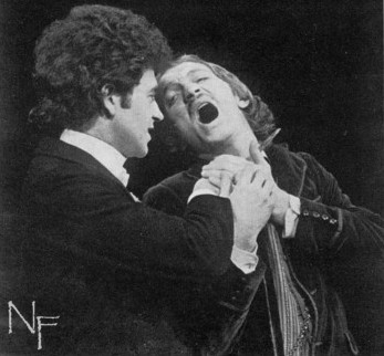 The John Osborne season at Greenwich was completed with Clive Donner's production of Wilde's novel. Dorian Gray (Michael Kitchen, left) seizes Basil Hallward (John McEnery) by the throat in the battle between sensation and sensibility.